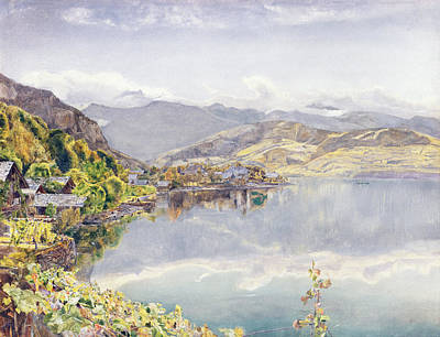 Mountain Drawing - The Lake Of Lucerne, Mount Pilatus by John William Inchbold