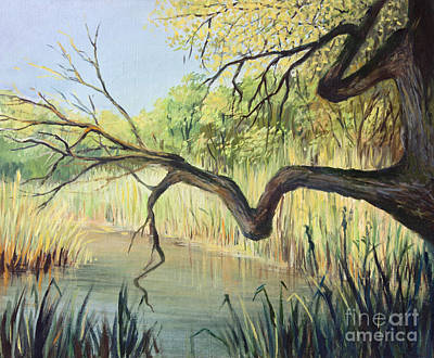 Swamp Oil Painting - The Lake Of Silence by Kiril Stanchev