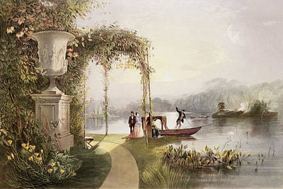 River Walk Painting - The Lake  Trentham Hall Gardens by E Adveno Brooke
