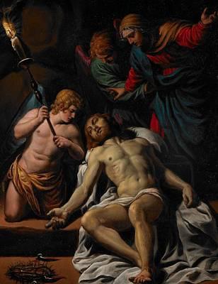 Prayer Card Painting - The Lamentation by Alessandro Turchi