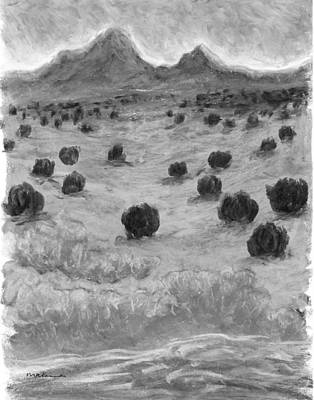 Painting - The Land In Between Black And White by Carrie MaKenna