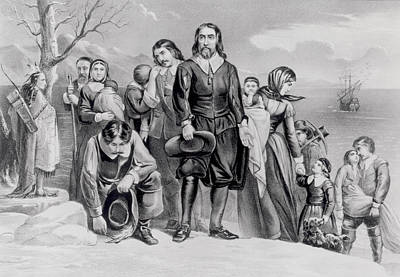 The Landing Of The Pilgrims At Plymouth, Mass. Dec. 22nd, 1620, Pub. 1876 Engraving Bw Photo Print by N. Currier