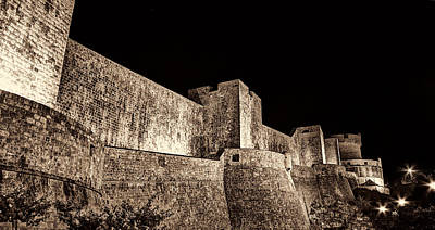 Photograph - The Landside Walls Of Dubrovnik At Night No1 Sepia by Weston Westmoreland