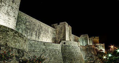 Photograph - The Landside Walls Of Dubrovnik At Night No1 by Weston Westmoreland