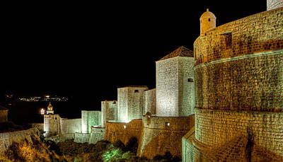 Photograph - The Landside Walls Of Dubrovnik At Night No2 by Weston Westmoreland