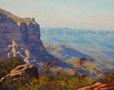 Neck Painting - The Landslide Katoomba by Graham Gercken