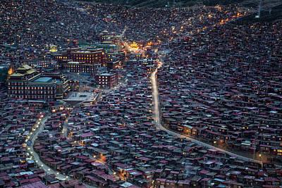 China Town Photograph - The Larung Ngarig Buddhist Academy At Night by Joe B N