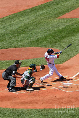 Red Sox Art Photograph - The Laser Show Dustin Pedroia by Tom Prendergast