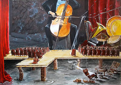 Concert Images Painting - The Last Concert Listen With Music Of The Description Box by Lazaro Hurtado