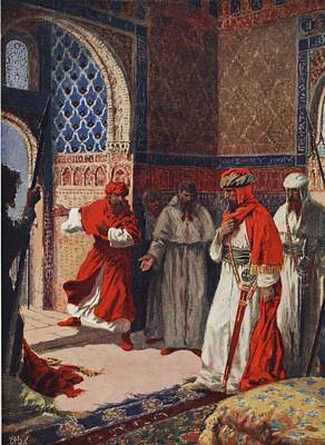 Spain Drawing - The Last Council Of Boabdil by John Harris Valda