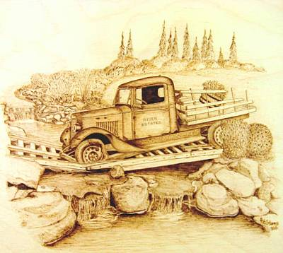 Pyrography On Wood Mixed Media - The Last Crossing by Roger Storey