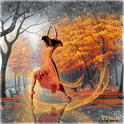Art Print featuring the digital art The Last Dance Of Autumn - Fantasy Art By Giada Rossi by Giada Rossi