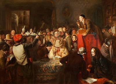 Crowd Scene Painting - The Last Day Of The Sale by George Bernard O'Neill