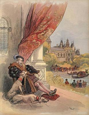 Elderly Drawing - The Last Days Of Francis I by Albert Robida