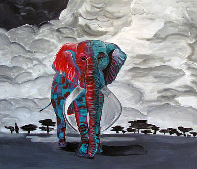 Bamboo Wall Painting - The Last Elephant by Jeanette Assfoura