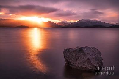 Loch Lomond Photograph - The Last Rays  Loch Lomond by John Farnan