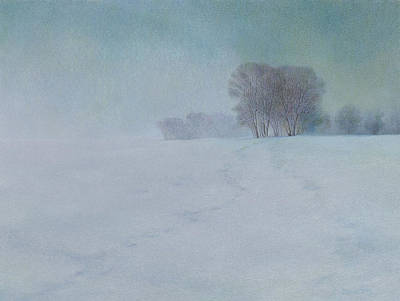Trees In Snow Drawing - The Last Snow by Lynn Bywaters