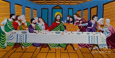 The Last Supper Hand Embroidery Art Print by To-Tam Gerwe