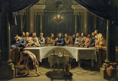 Disciples Painting - The Last Supper by Jean Baptiste de Champaigne