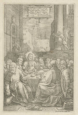 Matthew 26 Drawing - The Last Supper, Print Maker Hendrick Goltzius by Hendrick Goltzius And Lucas Van Leyden