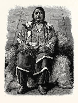 Indian Chief Drawing - The Late Ute Indian Chief, Ouray by American School