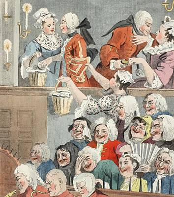 Satire Wall Art - Drawing - The Laughing Audience, Illustration by William Hogarth