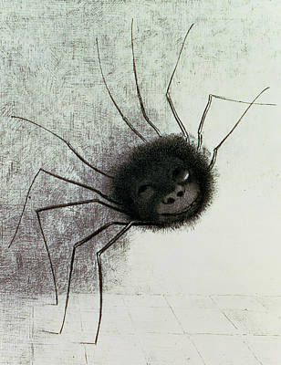 Smiling Drawing - The Laughing Spider by Odilon Redon
