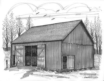 Old Barn Drawing - The Lawrence Barn by Richard Wambach