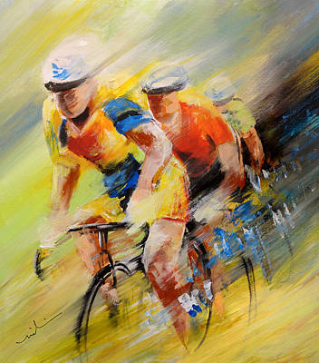 Sports Paintings - The Leader by Miki De Goodaboom