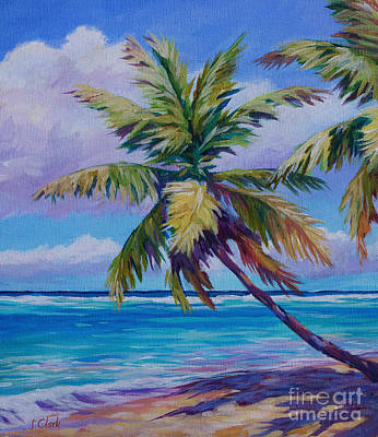 Bvi Painting - The Leaning Palm by John Clark