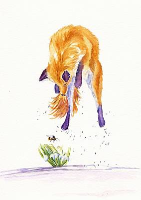 Red Fox Painting - Bee Springy by Debra Hall