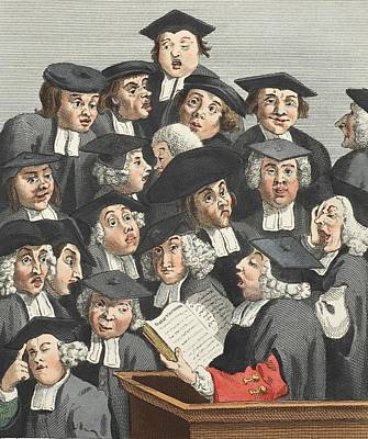 Harvard Drawing - The Lecture, Illustration From Hogarth by William Hogarth