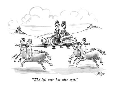 Centaur Drawing - The Left Rear Has Nice Eyes by Warren Miller