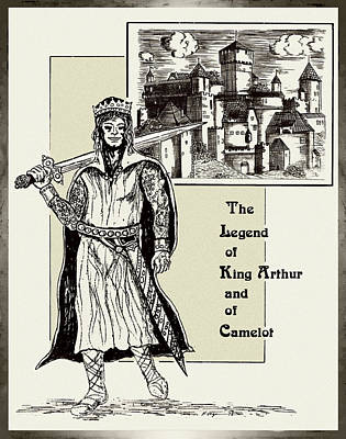 Camelot Drawing - The Legend Of A King by Hartmut Jager