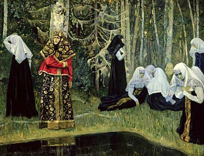 The Legend Of The Invisible City Of Kitezh, 1917-22 Oil On Canvas Art Print by Mikhail Vasilievich Nesterov