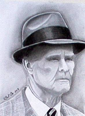 Dallas Drawing - The Legend Tom Landry by William Cox