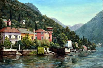 Villa Painting - The Lenno Shore by Barbara Felisky