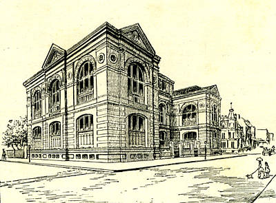 Archives Drawing - The Lenox Library New York 1891 Usa by American School
