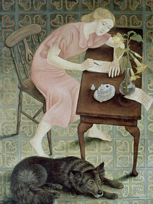 Alsatian Painting - The Letter, 1993 by Patricia O'Brien
