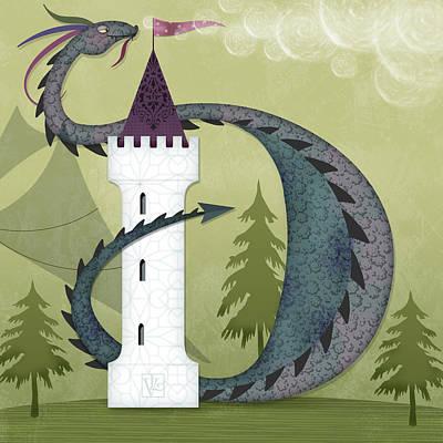 Fantasy Tree Mixed Media - The Letter D For Duncan The Dragon by Valerie Drake Lesiak