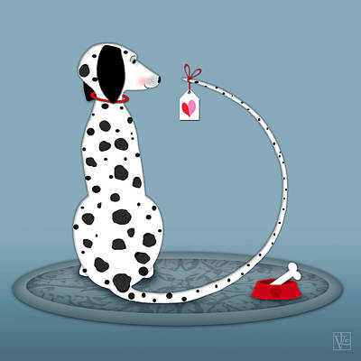 The Letter D For Dalmatian Art Print by Valerie Drake Lesiak