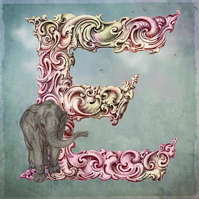 Manuscript Digital Art - The Letter E by Terry Fleckney