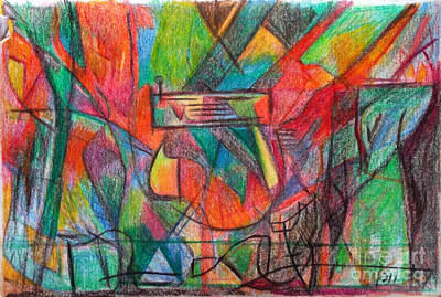 Conceptual Abstraction Drawing - The Letter Heh by David Baruch Wolk