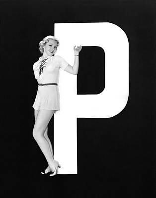 The Letter p  And A Woman Art Print by Underwood Archives
