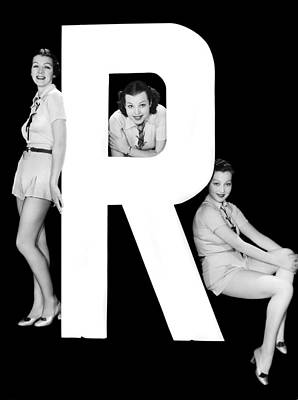 The Letter r  And Three Women Art Print by Underwood Archives