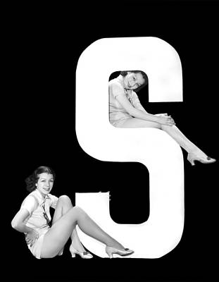 The Letter s  And Two Women Art Print by Underwood Archives