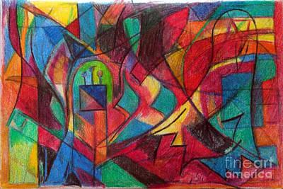 Holy Alphabet Digital Art - The Letter Shin by David Baruch Wolk