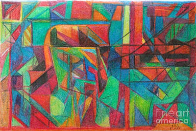 Conceptual Abstraction Drawing - The Letter Tav by David Baruch Wolk