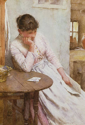 Deep In Thought Painting - The Letter  by Walter Langley