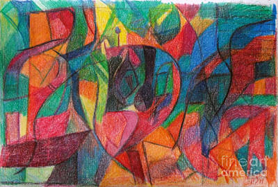 Conceptual Abstraction Drawing - The Letter Yud by David Baruch Wolk